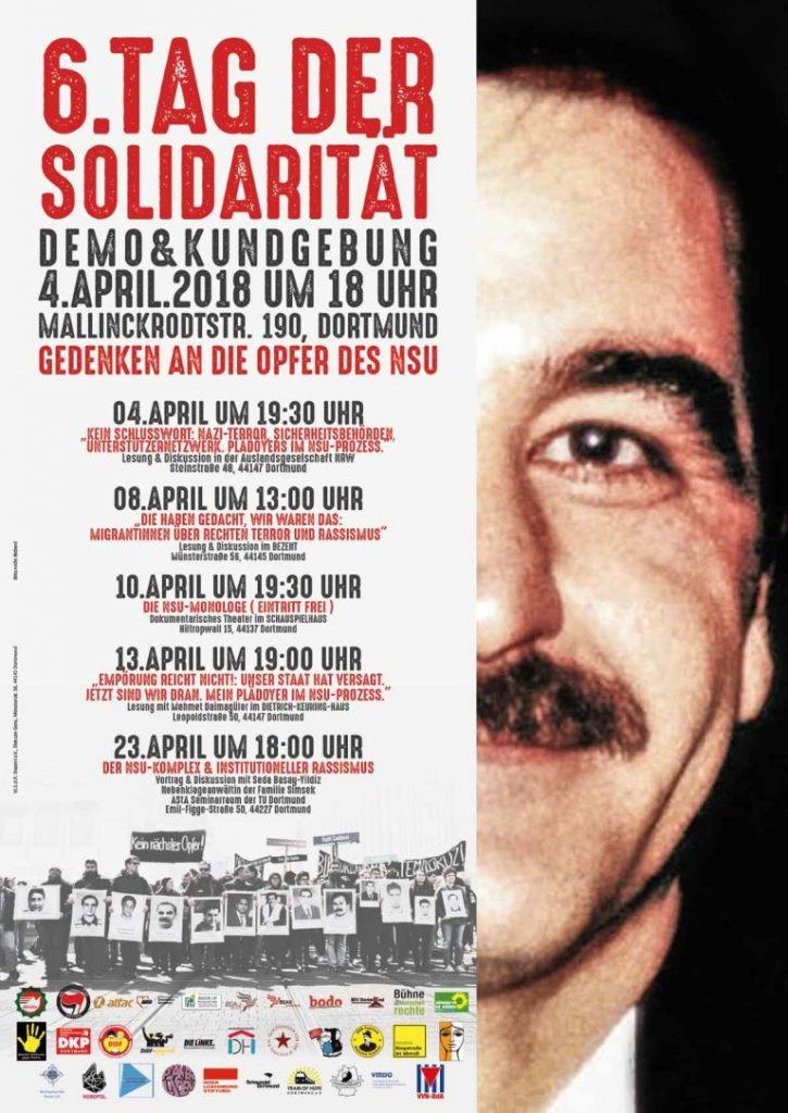 Plakat Tag der Solidarität 2018. Porträtfoto des lächelnden Mehmet Kubasik, Liste mit Terminen des Programms.